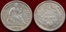 Us Coins - 1871  SEATED 1/2  DIME  FINE+