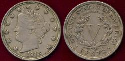 Us Coins - 1912 LIBERTY 5c XF45