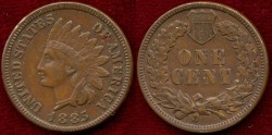 Us Coins - 1885   INDIAN  1c   About UNCIRCULATED