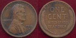 Us Coins - 1913-S LINCOLN 1c  VF/VG