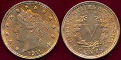 Us Coins - 1911 LIBERTY NICKEL MS64 .... Pretty Toning