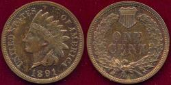 Us Coins - 1891 INDIAN 1c  PROOF  65RB