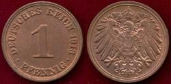 World Coins - GERMANY 1913-A  1 PFENNIG .... CHOICE UNCIRCULATED