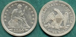 Us Coins - 1854 SEATED 25c ...... About Uncirculated