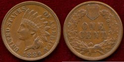 Us Coins - 1886 Type 1   INDIAN  1c   About UNCIRCULATED