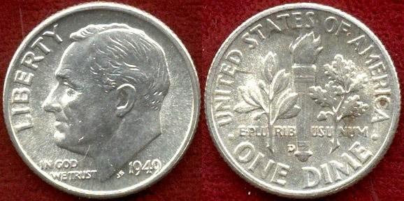 US Coins - 1949-D  10c ....CHOICE  UNCIRCULATED