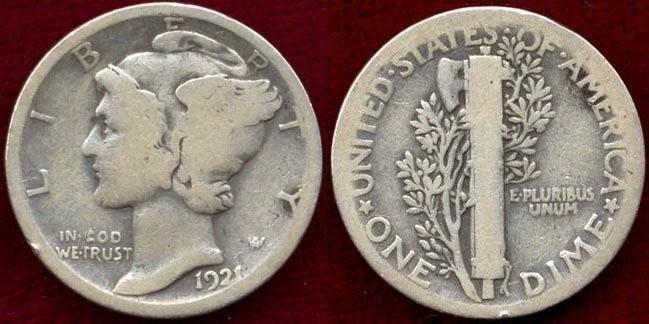 US Coins - 1921  MERCURY 10c ..... GOOD