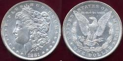 Us Coins - 1881-I MORGAN $1 MS64 WHITE