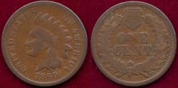Us Coins - 1869 INDIAN  1c   NICE GOOD