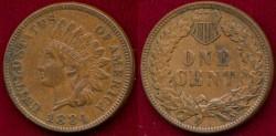 Us Coins - 1884  INDIAN 1c  AU50