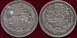 World Coins - EGYPT 1916  20 PIASTRES  ... HUSSEIN KAMEL