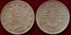 Us Coins - 1911 LIBERTY 5c  AU