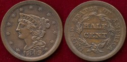 Us Coins - 1849 1/2c  UNCIRCULATED