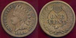 Us Coins - 1864CN INDIAN 1c VG