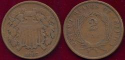 Us Coins - 1867 TWO CENT VG