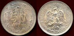 World Coins - MEXICO 1944-M  50 CENTAVOS  CH BU ... VERY PRETTY TONE
