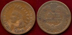 "Us Coins - 1864-L  INDIAN 1c ...... ""L"" SHOWS on ribbon"