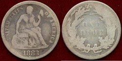 Us Coins - 1883 SEATED 10c  VG