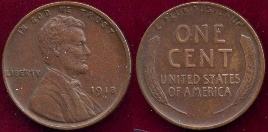 US Coins - 1918-D LINCOLN 1c  XF45