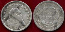 Us Coins - 1857 SEATED 1/2 DIME  VG