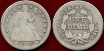 Us Coins - 1853  Seated  10c.....  GOOD