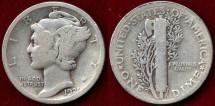 Us Coins - 1921  MERCURY 10c   VG