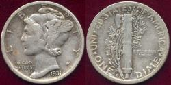 Us Coins - 1931-D MERCURY DIME.. nice original VF