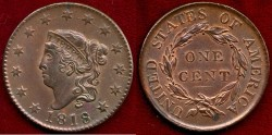 Us Coins - 1818  LARGE 1c .....  CHOICE UNCIRCULATED