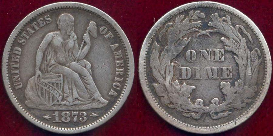 US Coins - 1873 ARROWS open 3  SEATED DIME  XF40