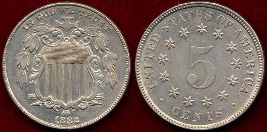 US Coins - 1882 SHIELD 5c  MS62