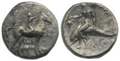 Ancient Coins - Calabria, Tarentum AR (Silver) Didrachm