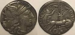 Ancient Coins - Sextus Pompeius Fostius AR (Silver) Denarius--Wolf and Twins--Nice
