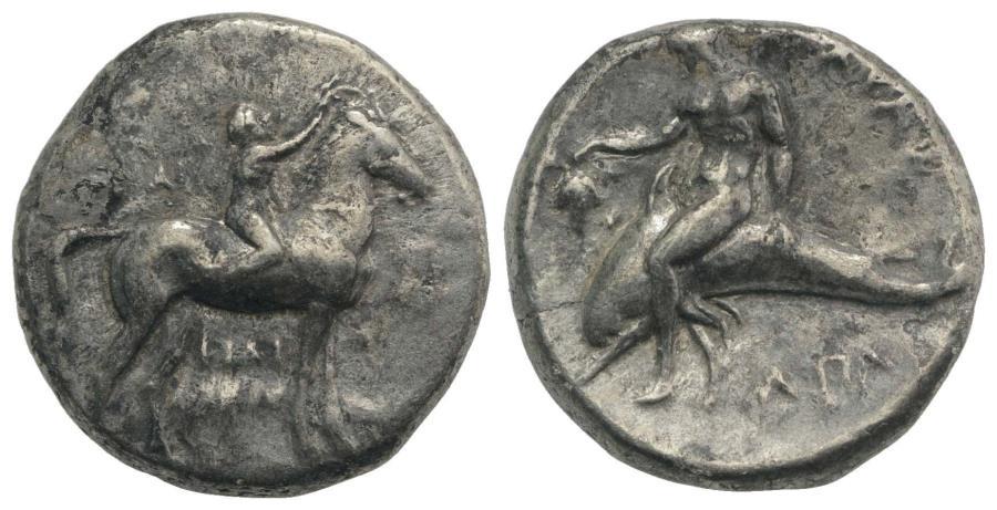 Greek coins. Calabria, Tarentum. Nomos ca 425-415, AR 7.99g.