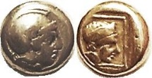 Ancient Coins - Lesbos, Mytilene El (Pale Gold) Hekte