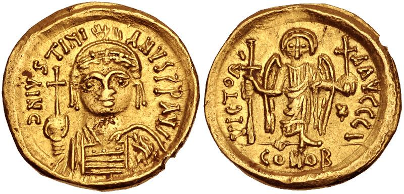 Ancient Coins - Justinian AV (Gold) Solidus--Nice and Rare Dated Carthage Mint Issue
