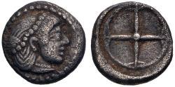 Ancient Coins - Sicily, Syracuse AR (Silver) obol--Time of Hieron I--Nice