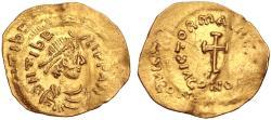 Maurice Tiberius AV (Gold) Tremissis--Nice Portrait, Interesting Double Strike