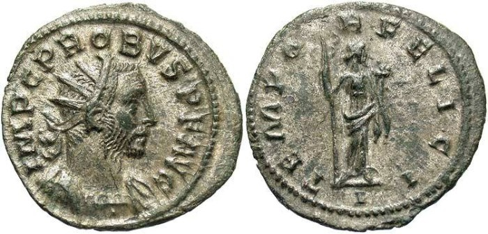 Ancient Coins - Probus AE Silvered Aurelianianus--Superb