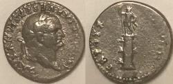 Ancient Coins - Vespasian AR (Silver) Denarius--Rostral Column Issue