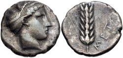 Ancient Coins - Metapontion AR (Silver) Didrachm--Very Rare Variant!