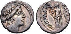 Ancient Coins - Man. Acilius Glabrio AR (Silver) Denarius--Nicely Detailed