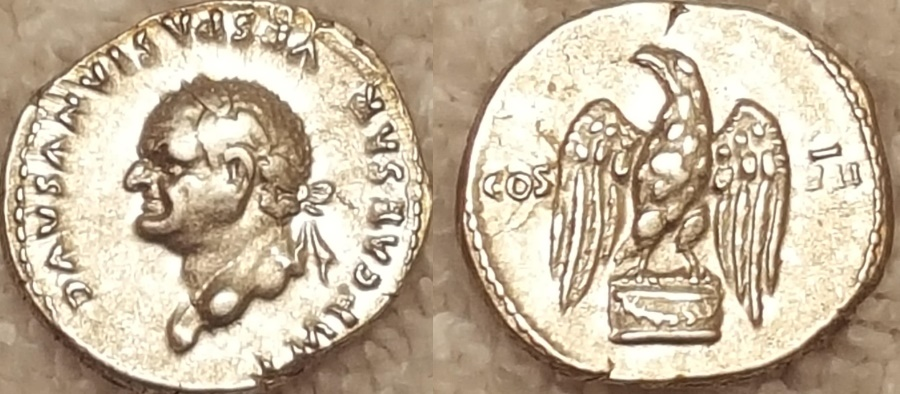 Ancient Coins - Vespasian AR (Silver) Denarius--Superb example with Left Facing Bust and Eagle Reverse