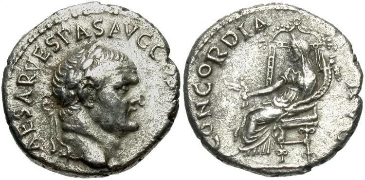 Ancient Coins - Vespasian AR (Silver) Denarius--Ephesus