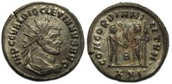 Ancient Coins - Diocletian Silvered AE Antoninianus--Nice