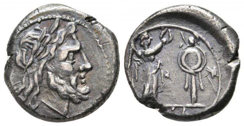 Ancient Coins - Anonymous AR (Silver) Victoriatus--Toned and Nice