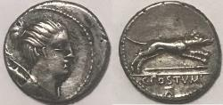 Ancient Coins - C. Postumius AR (Silver) Denarius--Nicely detailed and toned in devices