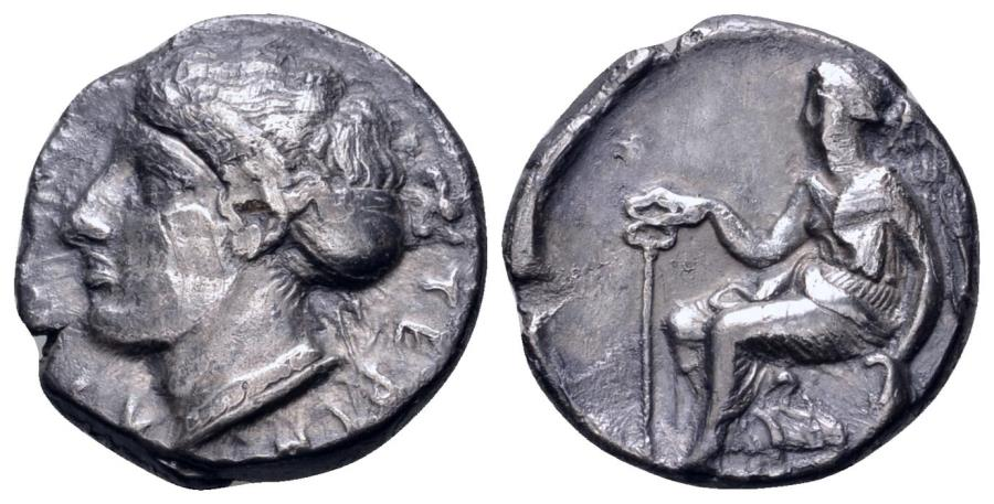 Ancient Coins - Bruttium, Terina AR (Silver) Stater--Toned and RARE
