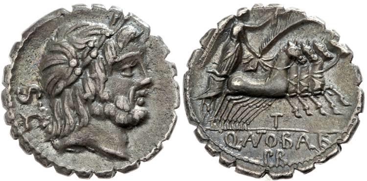 Ancient Coins - Q. Antonius Balbus AR (Silver) Serrate Denarius--Nice