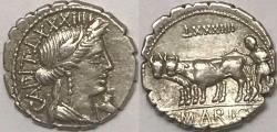 Ancient Coins - C. Marius c.f. Capito AR (Silver) Denarius--Nicely Detailed