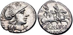 Ancient Coins - Cn. Lucretius Trio AR (Silver) Denarius--Superb